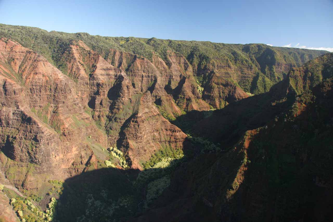 Flying over Waimea Canyon in the vicinity of Wai'alae Falls
