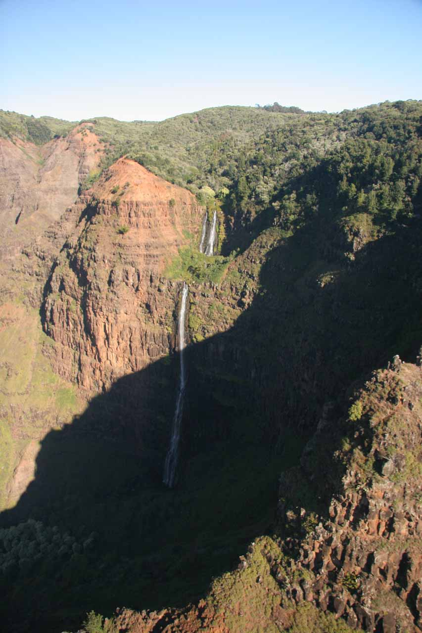 Hovering over Waimea Canyon in Kaua'i