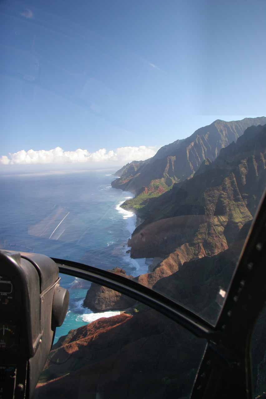 Na Pali Coast with glare through the front window