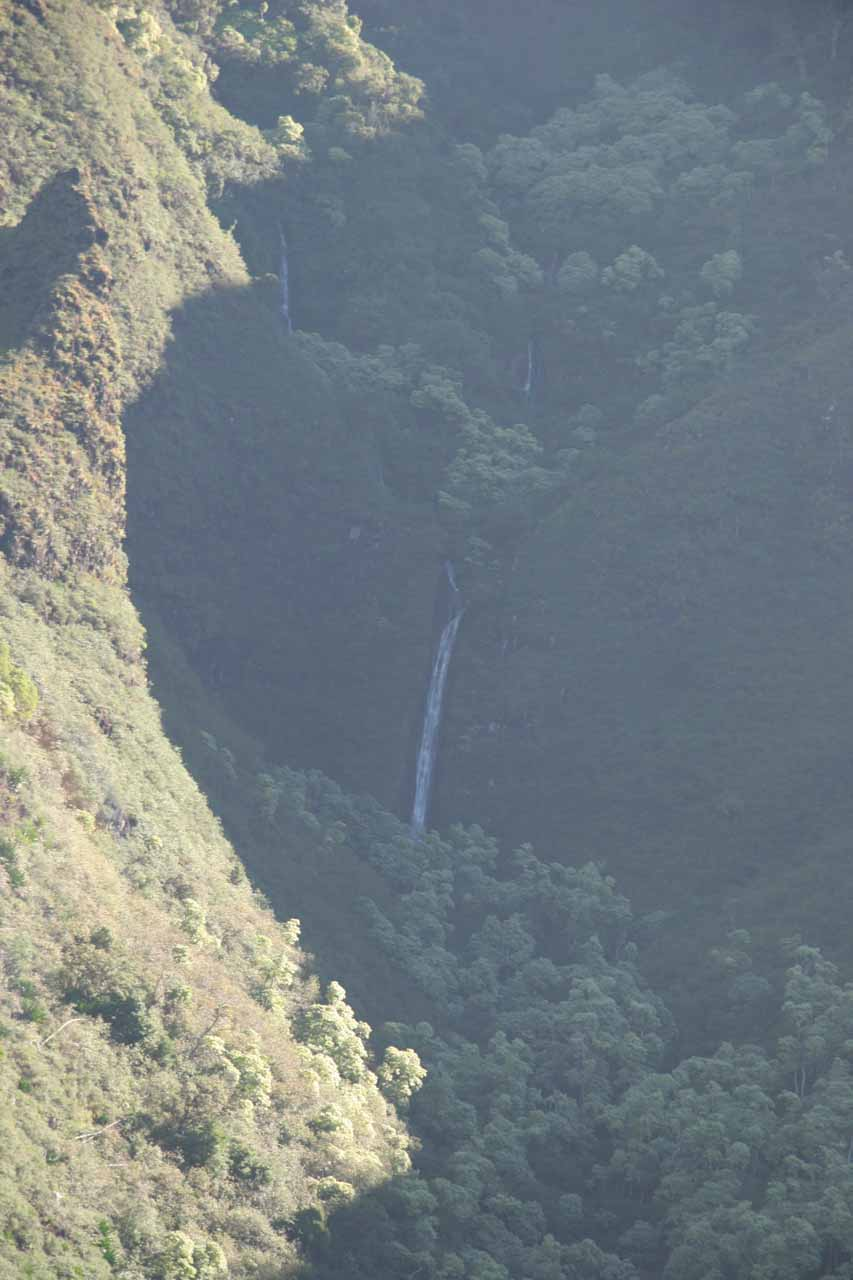 Some obscure waterfall beneath the fluted cliffs of Kalalau Valley