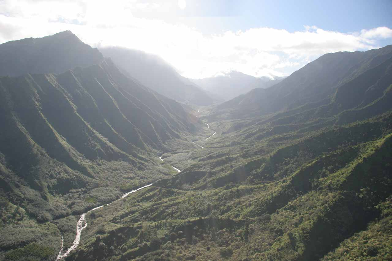 One of the valleys facing the north shore of Kaua'i while being near this waterfall was Hanalei Valley. This photo was actually taken from a chopper ride hovering through the valley