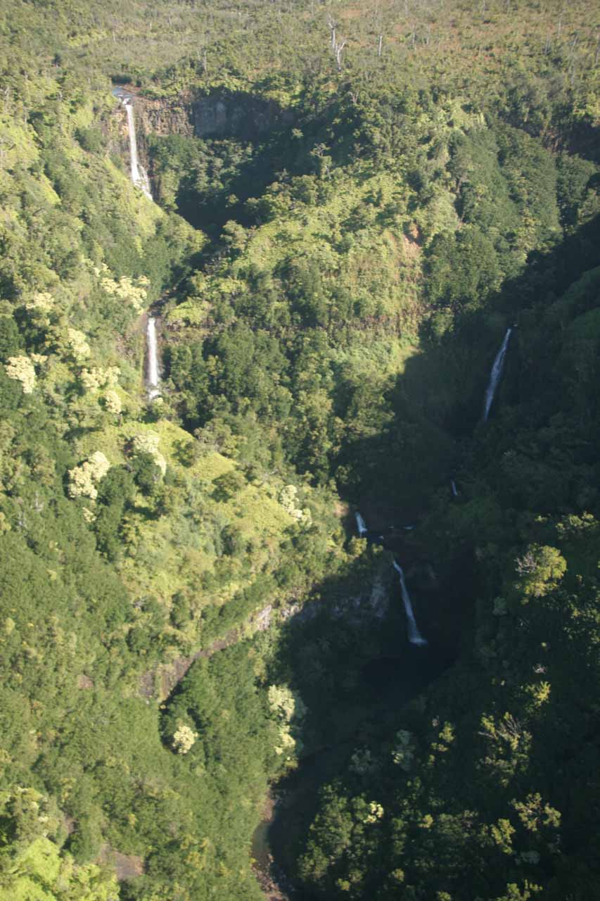Kahili Falls or the Five Sisters Falls deep in the mountains of Kauai
