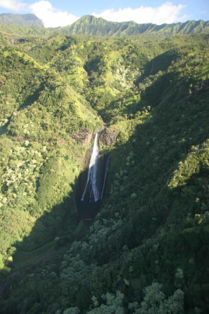 Kauai_Inter_Island_heli_584_12272006 - Context of Manawaiopuna Falls seen in the morning from a doors-off chopper tour