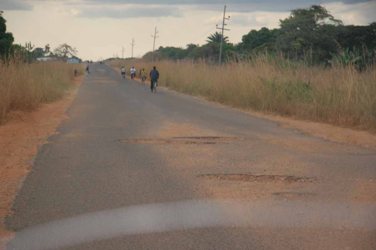 Potholes littering the way to Kawambwa