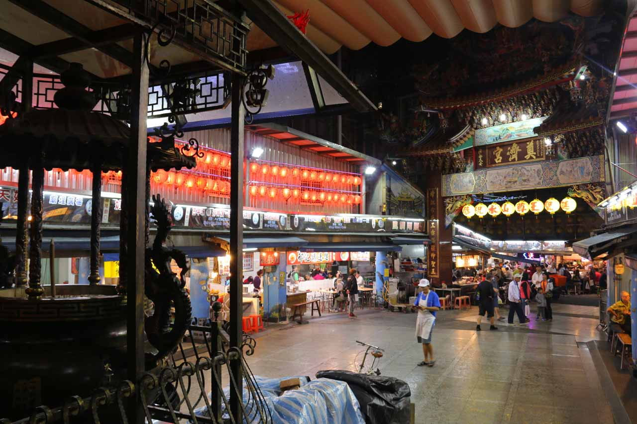 Looking back from the namesake temple in the Miaokou Night Market in the heart of Keelung City, which was where we stayed before driving up to the Qingshan Falls Trailhead