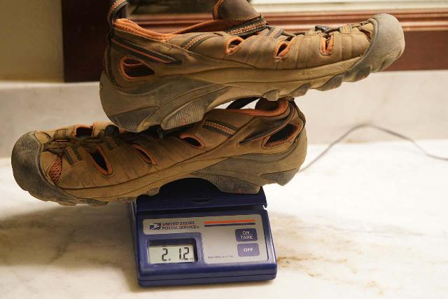 My Keen Arroyo II Sandals weighed 2 lbs 12 oz, which was only 4 oz heavier than my Chaco Z/1 Classics