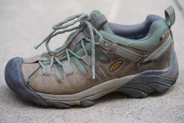My wife's waterproof dayhiking shoes, which only seemed to be truly waterproof up to the mesh