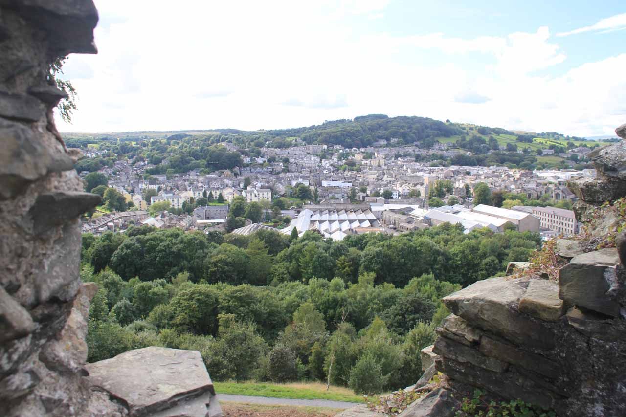 Looking through one of the towers of the ruins of Kendal Castle towards Kendal