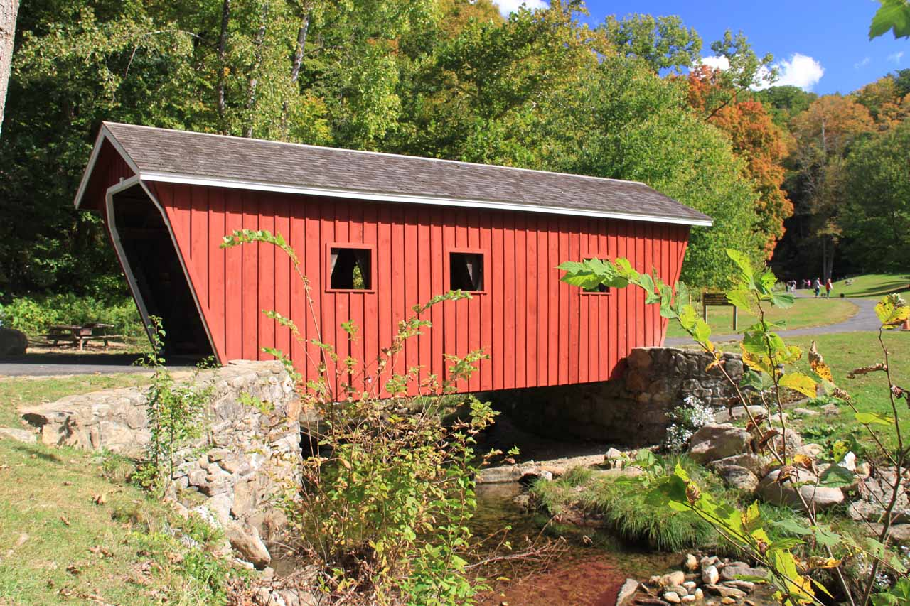 The covered bridge at Kent Falls