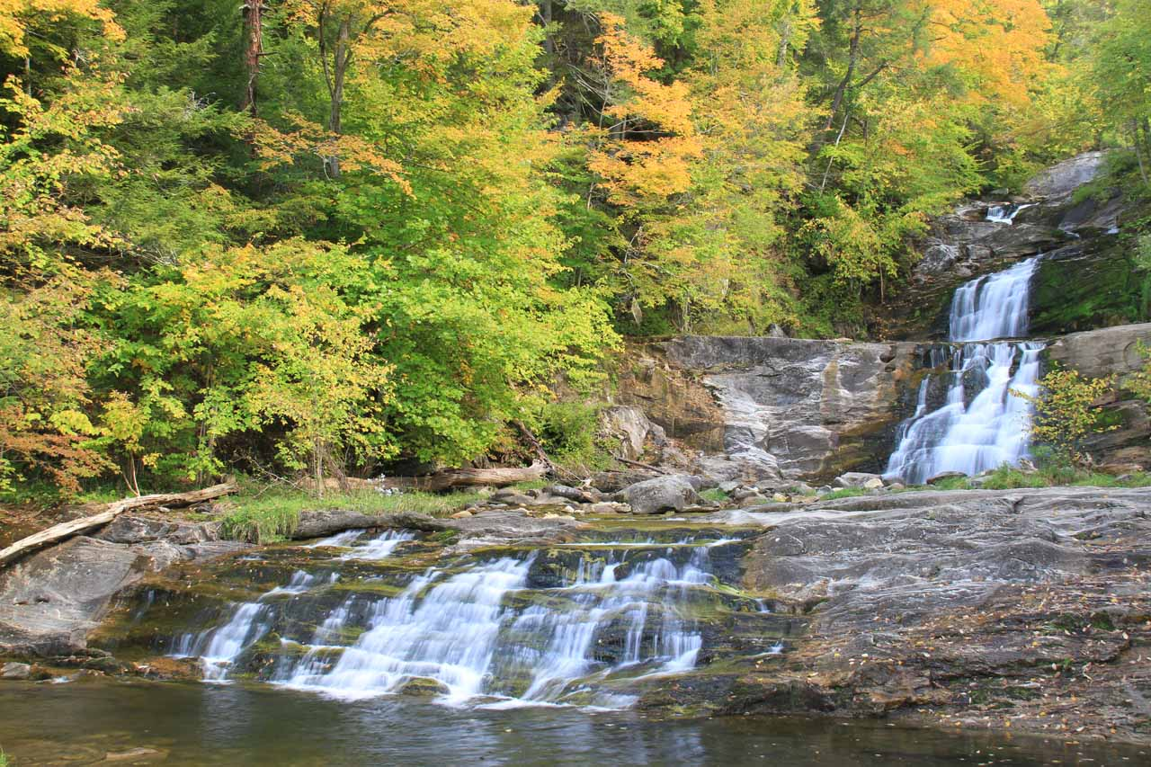 The bottommost tiers of Kent Falls