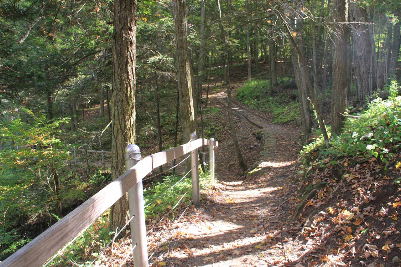 The sloping dirt trail that climbed up alongside Kent Falls Brook