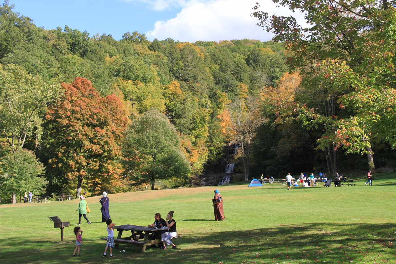 Last look at the busy scene of the picnic area and Kent Falls