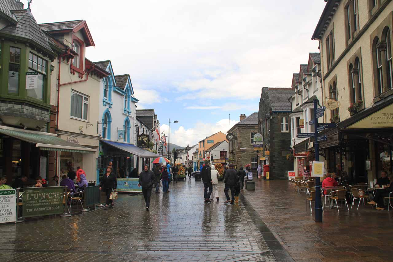 In the town centre of Keswick while it was raining