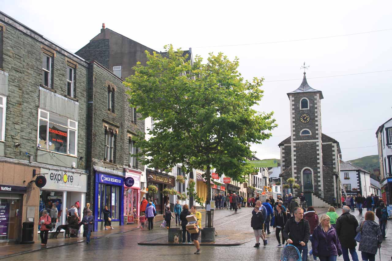 Looking towards a clock tower in the centre of Keswick when the rain let up