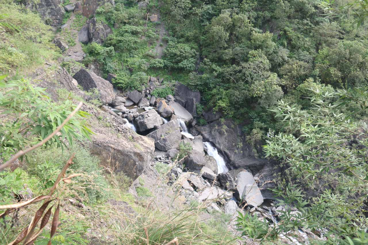 The higher up the trail we went, the more of the waterfall's stream we could see amidst its jumble of giant boulders