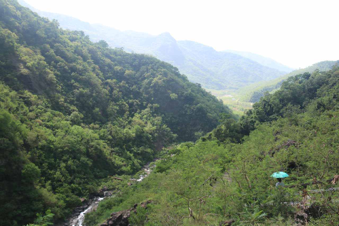 Looking back at the valley as we were in perhaps the most scenic part of the Kayoufeng Falls Trail
