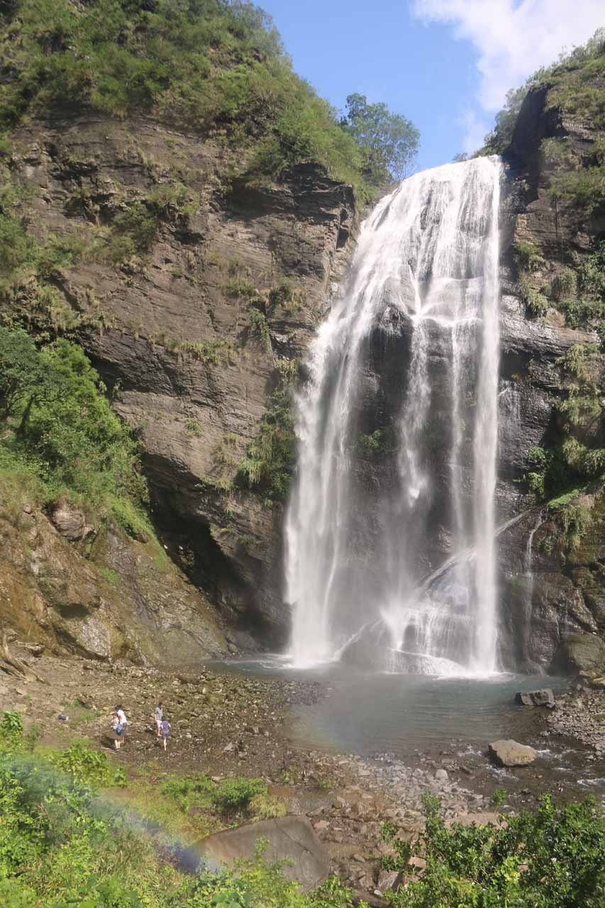 Keyoufeng Waterfall with a faint rainbow
