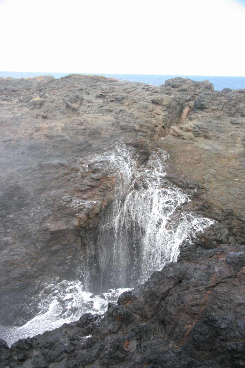 Water going back into the Kiama blowhole