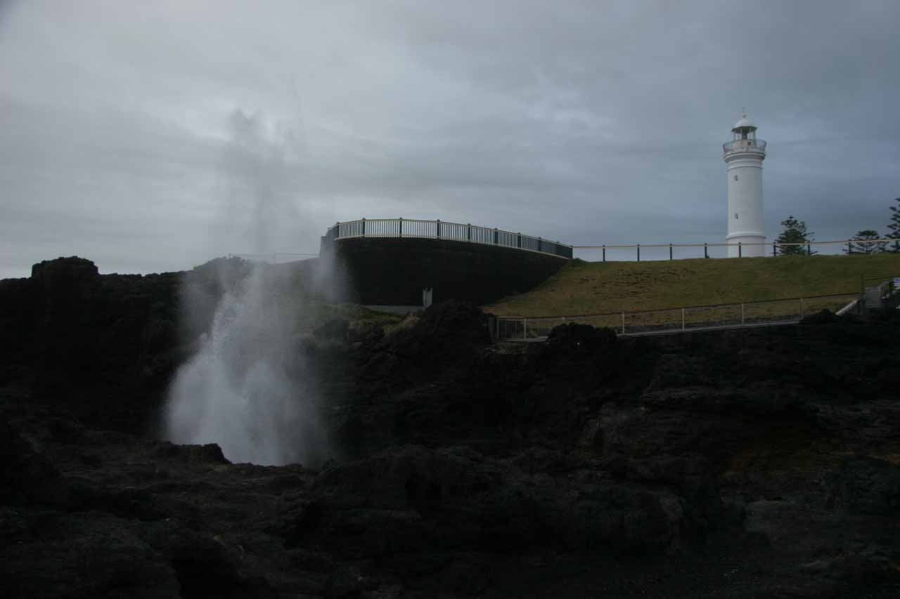 Less than an hour's drive to the east from Carrington Falls was the town of Kiama and the Kiama Blowhole, which can be seen with a lighthouse as shown in this photo