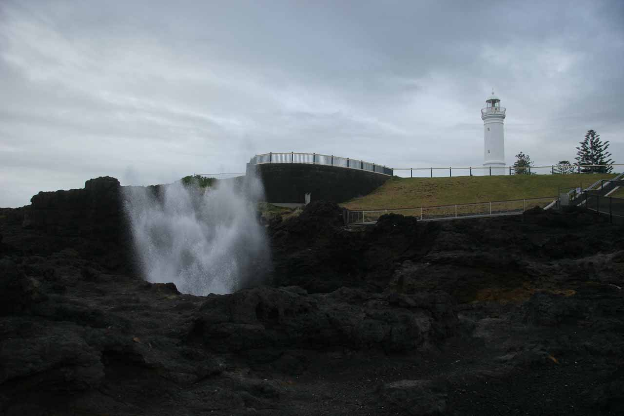 Minutes to the east of the Minnamurra Rainforest was the town of Kiama and the Kiama Blowhole, which can be seen performing before a lighthouse as shown in this photo