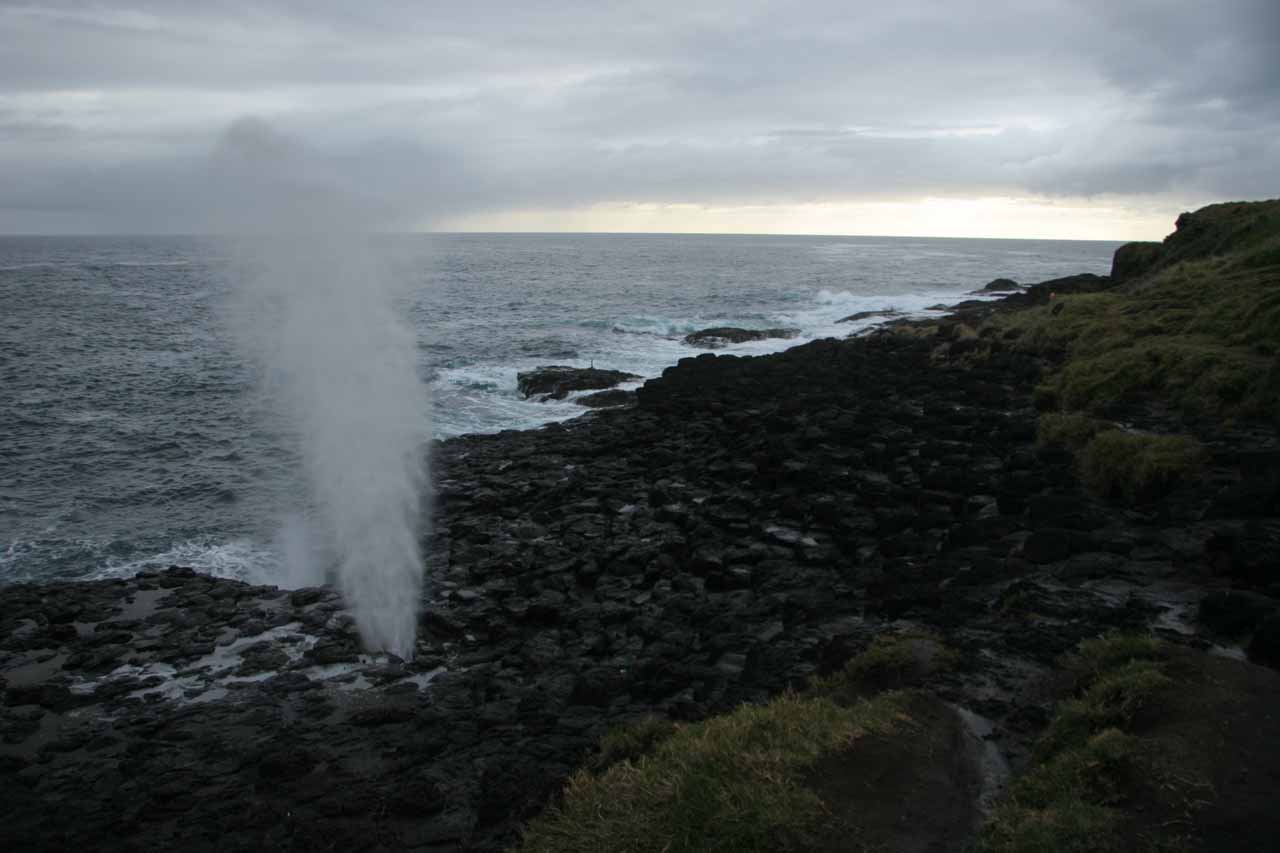 Nearby the big Kiama Blowhole was the more low-key but no-less-impressive Little Kiama Blowhole shown here against some pretty coastal scenery against some rough seas