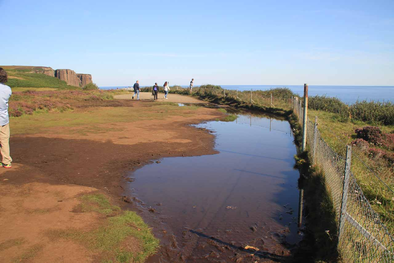 This was a fairly large flooded section of the overlook area, which impacted how we would view the sea cliffs to the south