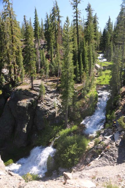 Kings_Creek_Falls_031_07122016 - Looking down towards the uppermost cascades of the Kings Creek Cascades as seen from the Cascades Overlook. Unfortunately, we could have gotten close to these cascades on the Cascades Trail, but it was closed during our visit in July 2016