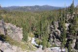 Kings_Creek_Falls_040_07122016 - Looking downstream over the lower parts of the cascades on Kings Creek towards attractive mountains and forests in the background