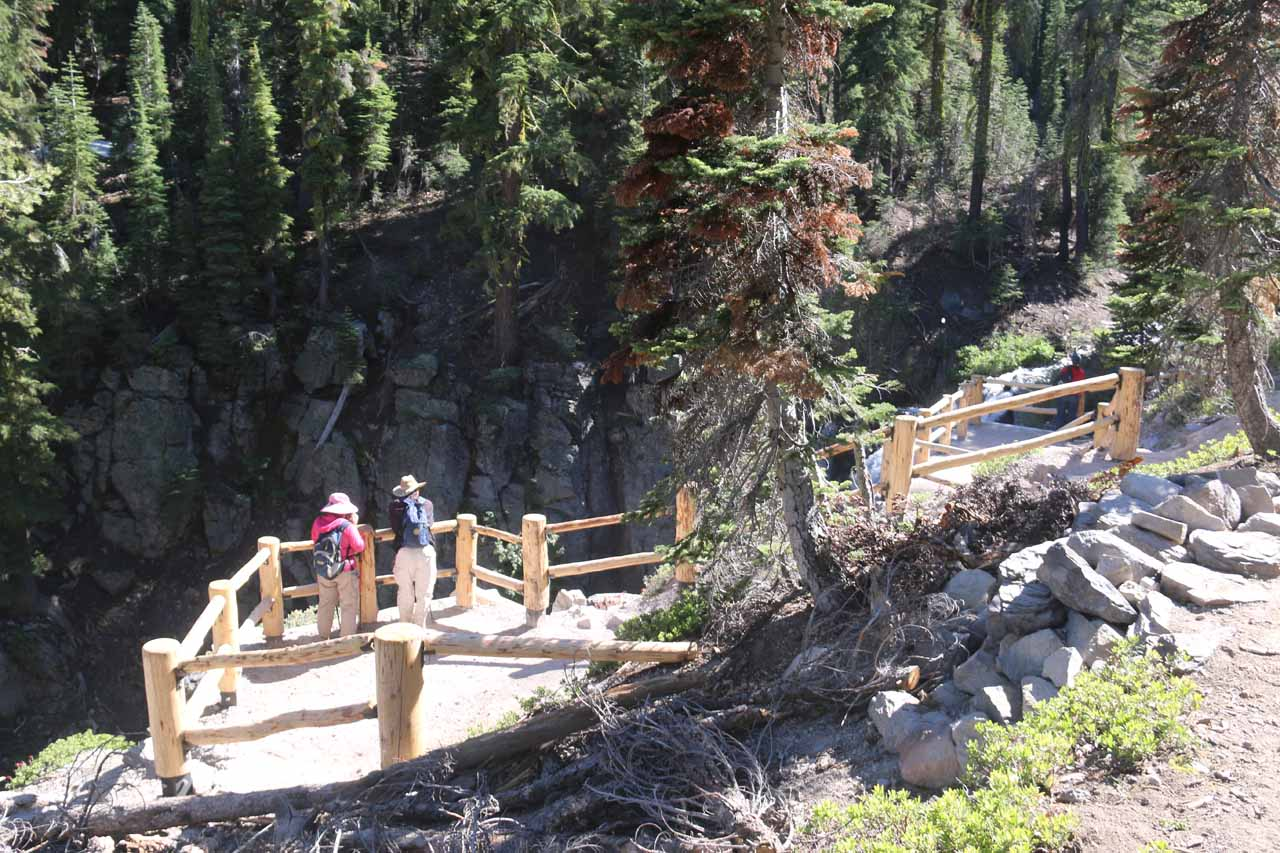 Looking down at the newly renovated official overlook of Kings Creek Falls