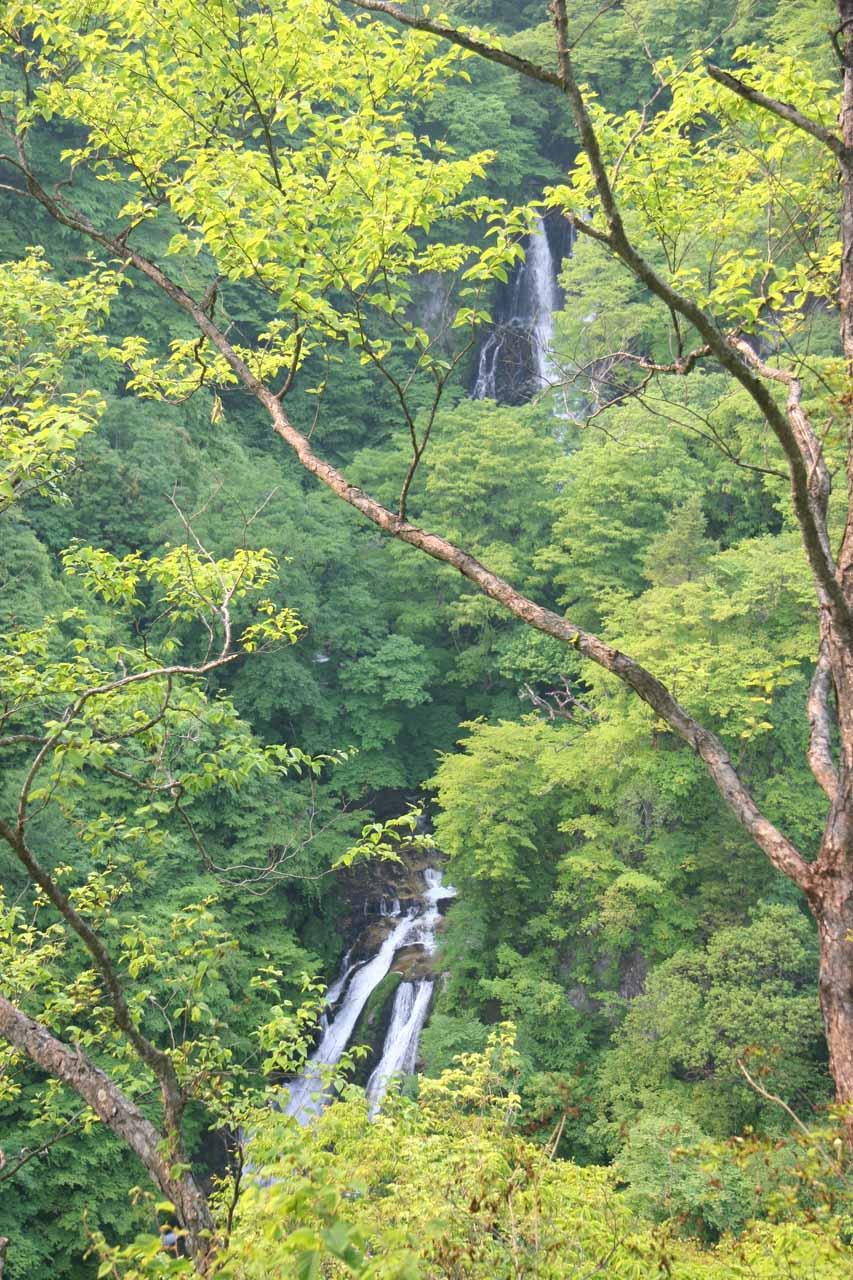 Obstructed view of the Kirifuri Waterfall