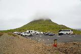 Kirkjufellsfoss_005_08172021 - Looking back across the car park at Kirkjufell, which was covered in clouds when we first showed up