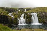 Kirkjufellsfoss_043_08172021 - Long exposed look at Kirkjufellsfoss from its base at the bottom of the popular side of the trail