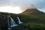 Kirkjufellsfoss_164_08172021 - Back at the top of Kirkjufellsfoss and Kirkjufell as seen during sunset though the Sony has trouble resolving the contrast here