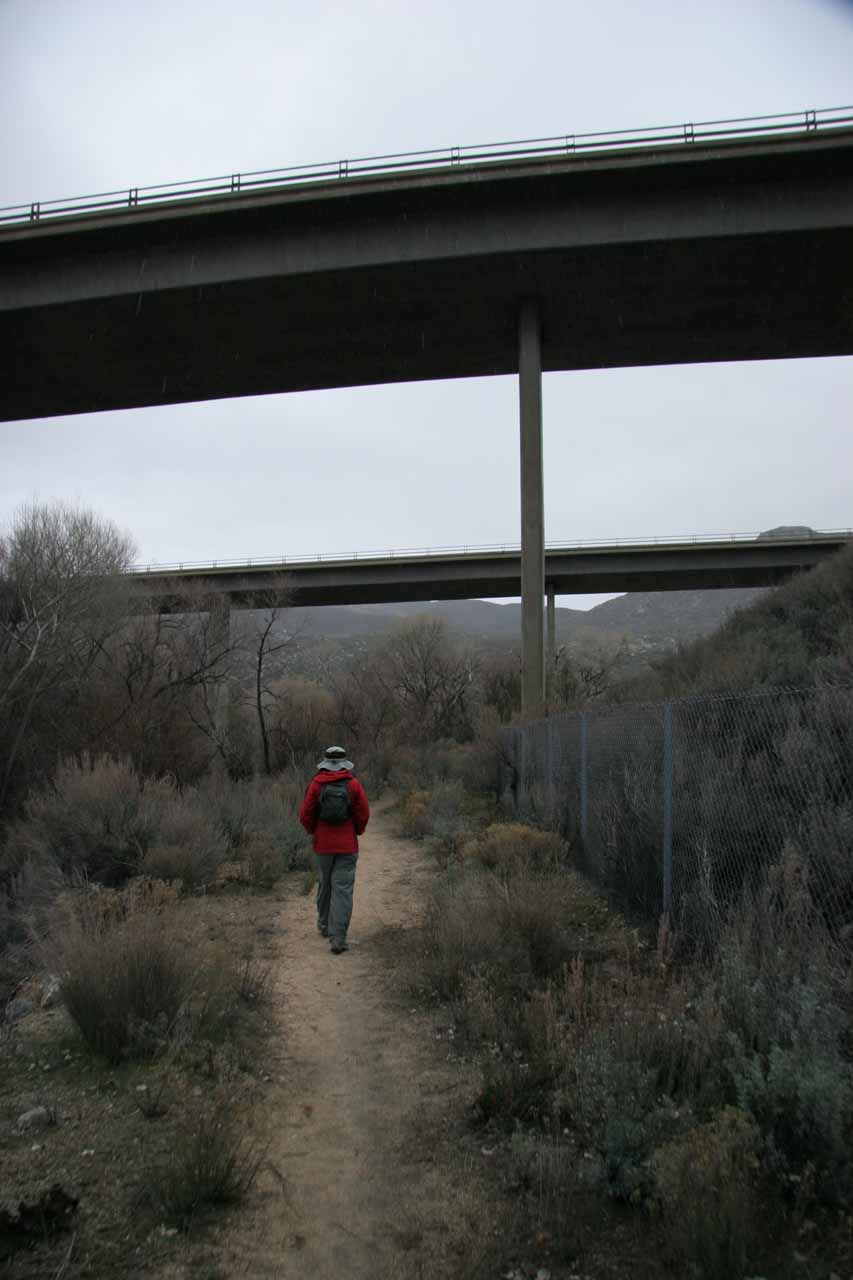Going underneath Interstate 8 on the Pacific Crest Trail
