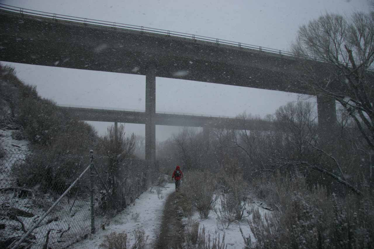 Passing beneath the I-8 again, but now with snow flurries everywhere