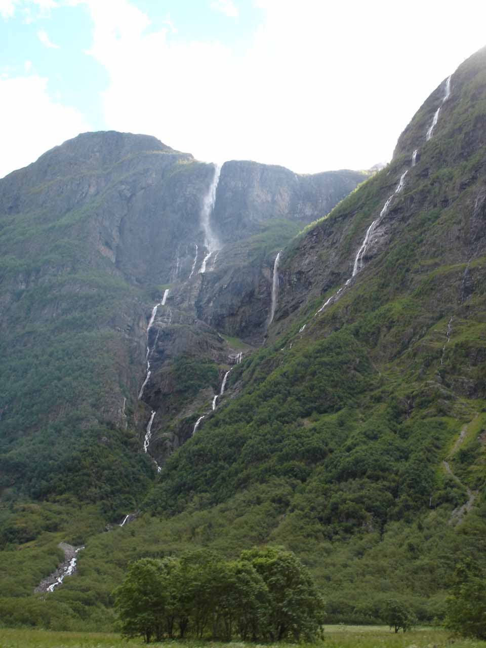 Angled view of Kjelfossen as we were approaching it from within Nærøydal Valley