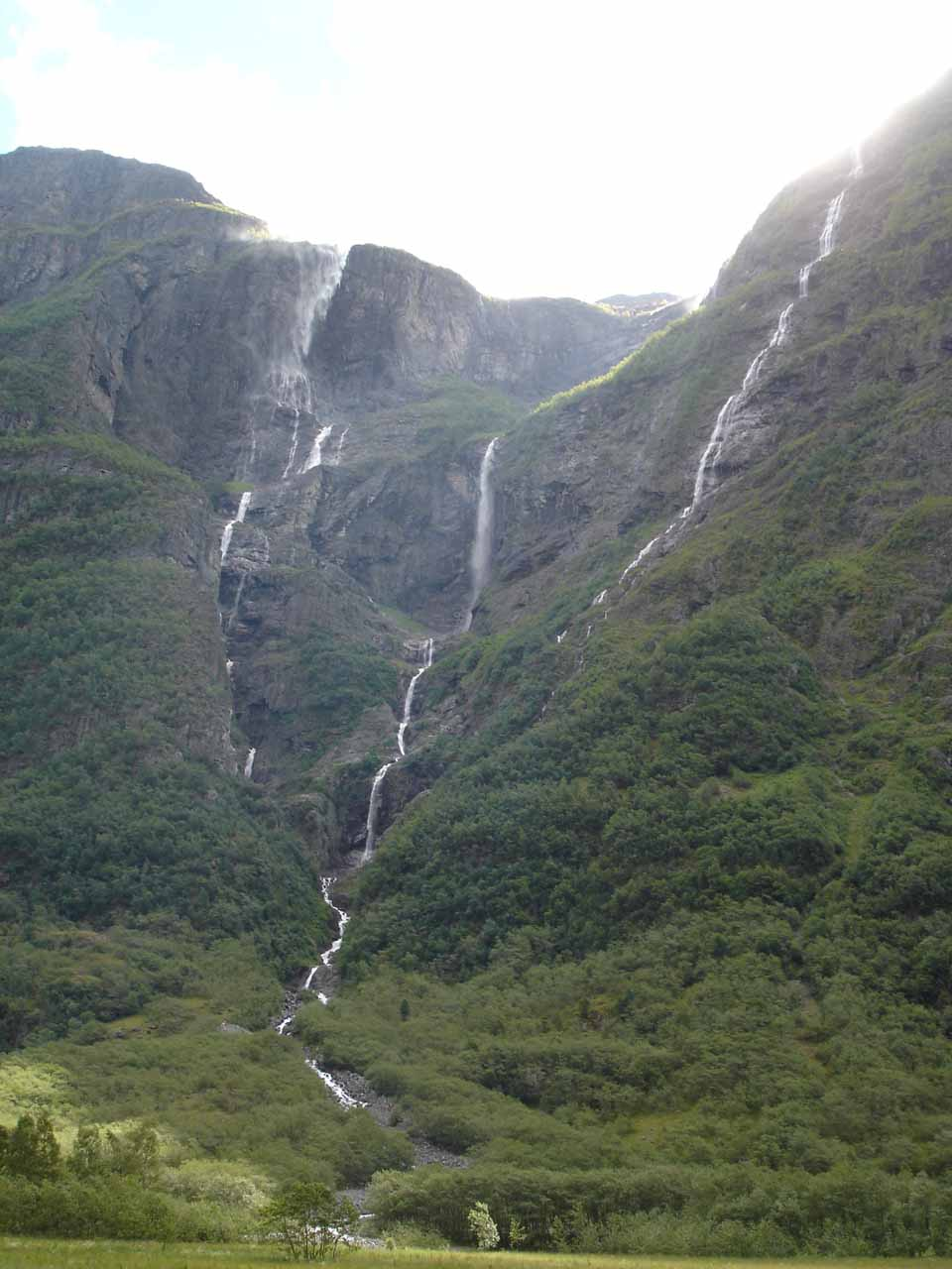 A slightly more centered view of Kjelfossen from one of the handful of pullouts before it within Nærøydal Valley