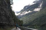 Kjenndalsbreen_007_07192019 - The narrow Fv723 road leading past Lodalen and into Kjenndalen, which as you can see is also shared with bicyclists