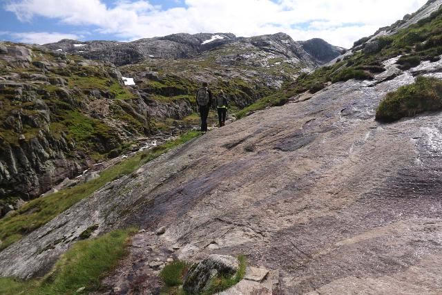 This was the kind of surface where I slipped and fell while using the Salomon Quest 4D 3 GTX boot during my return hike from Kjerag in Norway