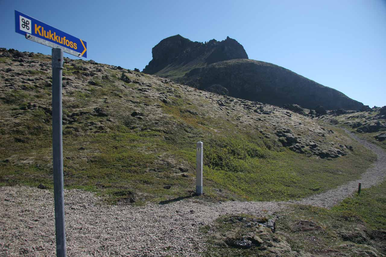 The signposted start of the trail.  I believe that mountain above was Hreggnasi, but we didn't climb it