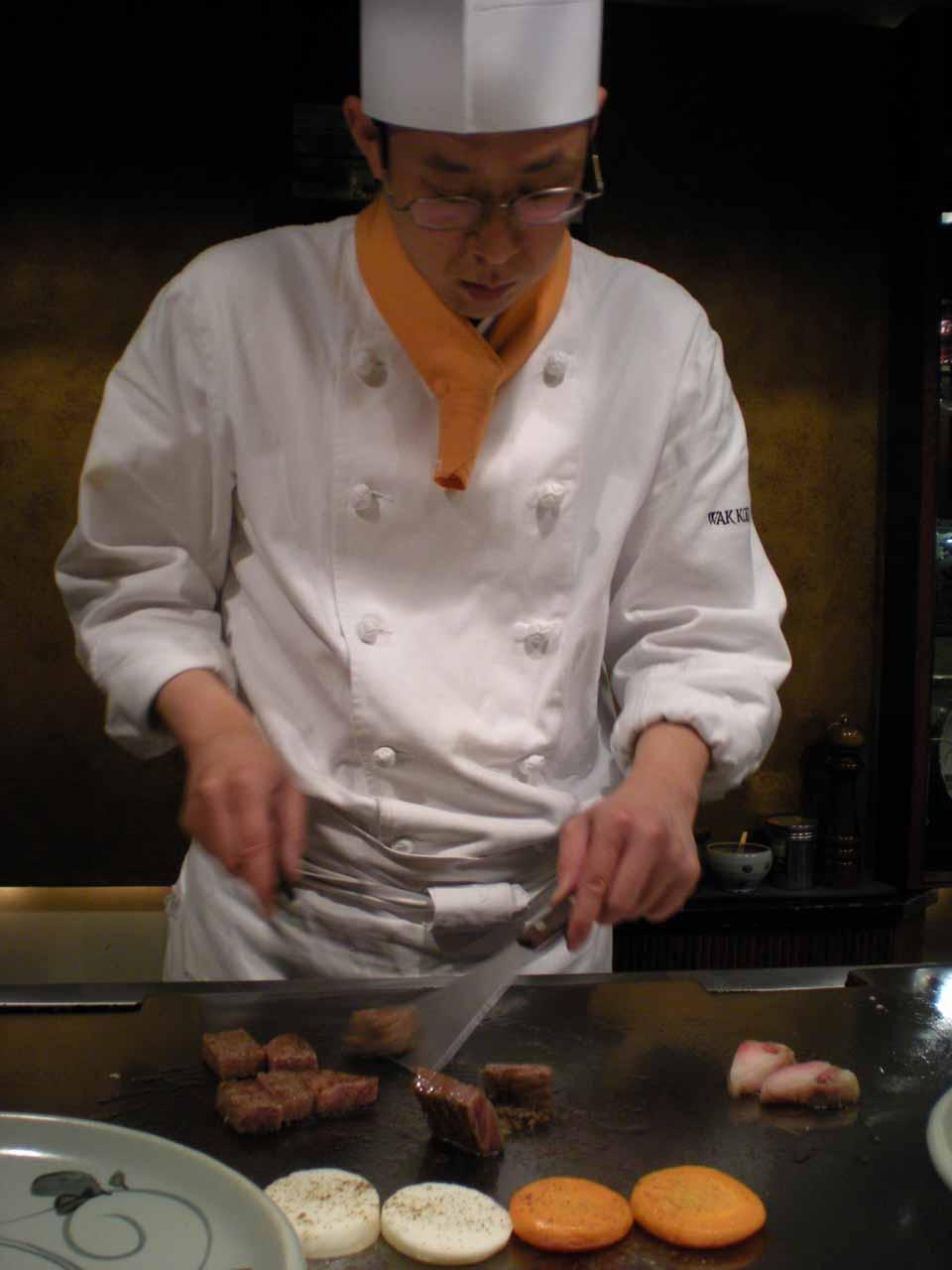 Chef working on various ways to prepare Kobe Beef