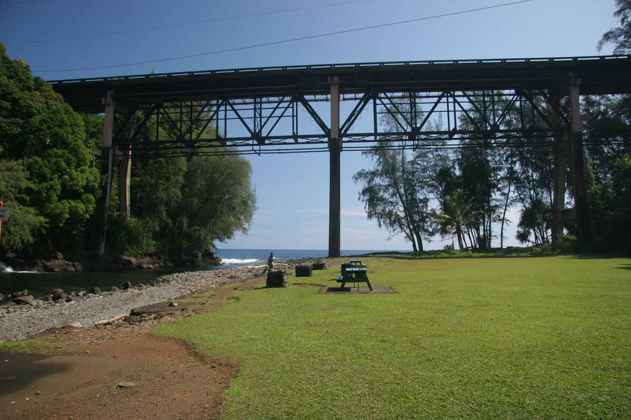 The Kolekole Beach Park with Hwy 19 passing overhead