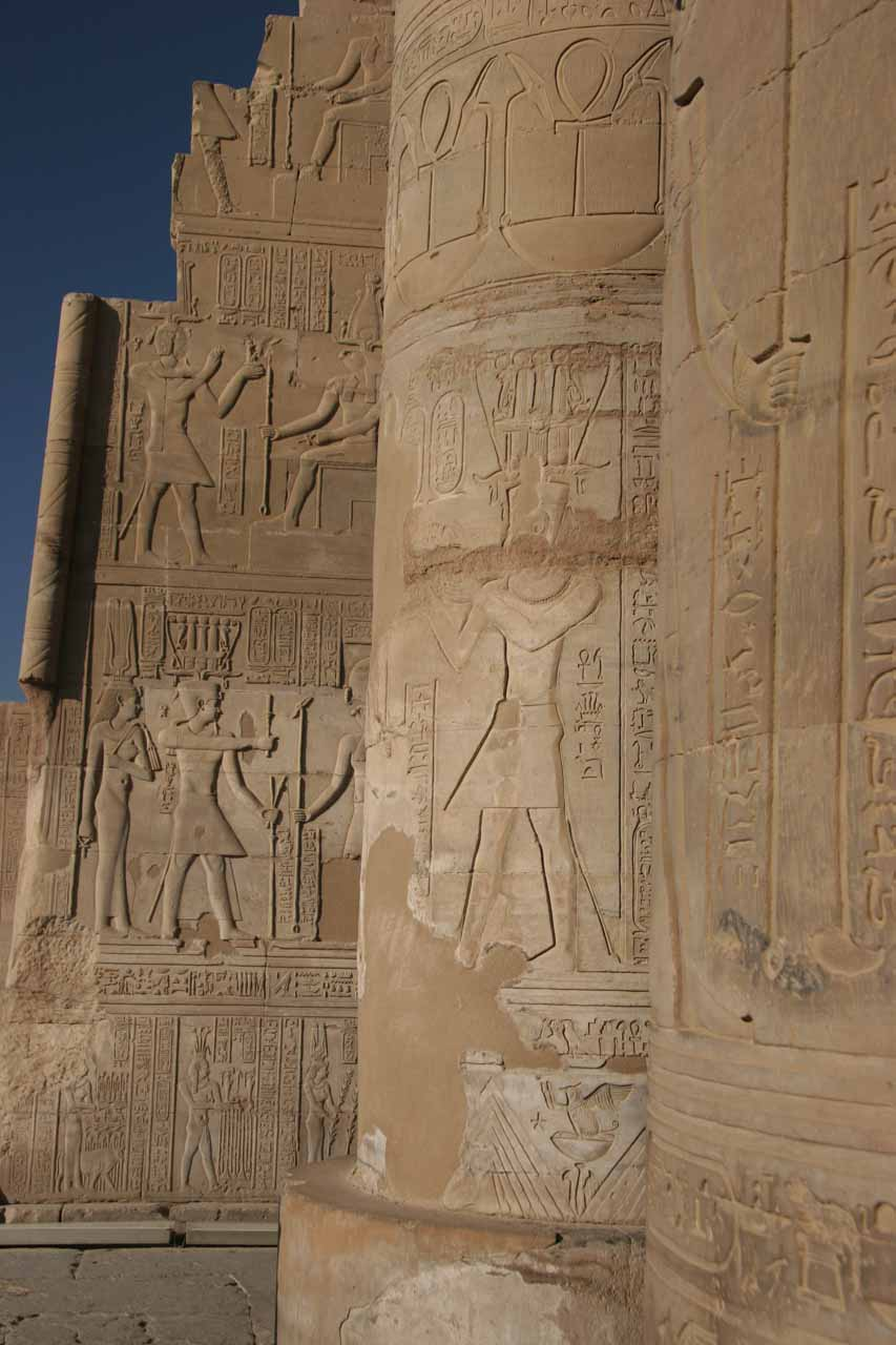 Hieroglyphs on the wall of Kom Ombo