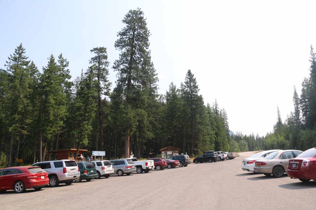 The busy and spacious parking lot for the Kootenai Falls