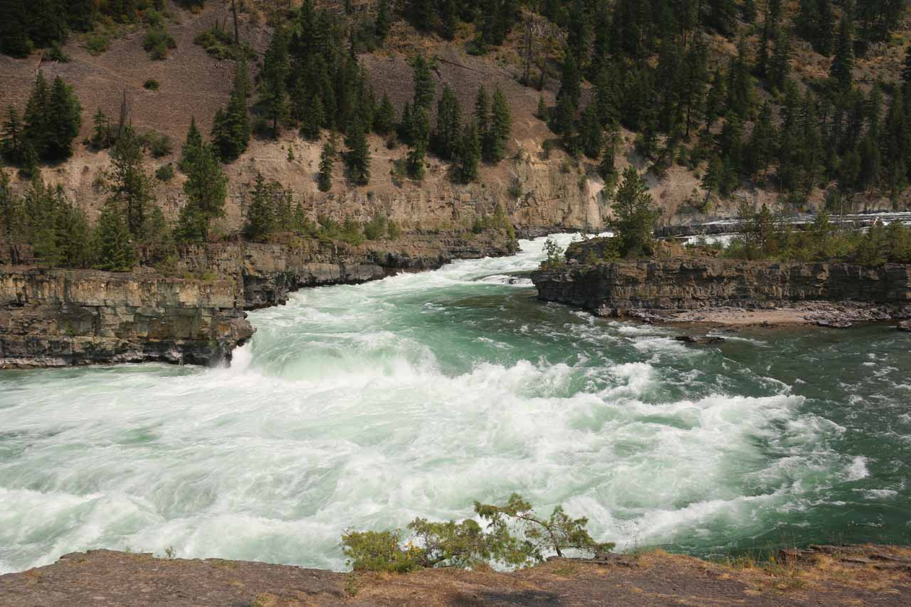 Looking to the leftmost segment of Kootenai Falls where it really looked more like a rapid and chutes than a waterfall