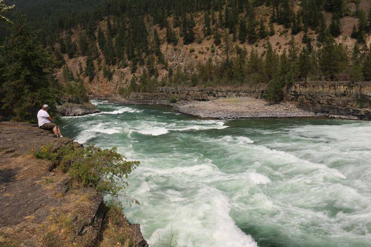 Looking downstream from Kootenai Falls at the turbulent Kootenai River. No wonder why early settlers had to portage around this area as running it on a kayak would be foolish
