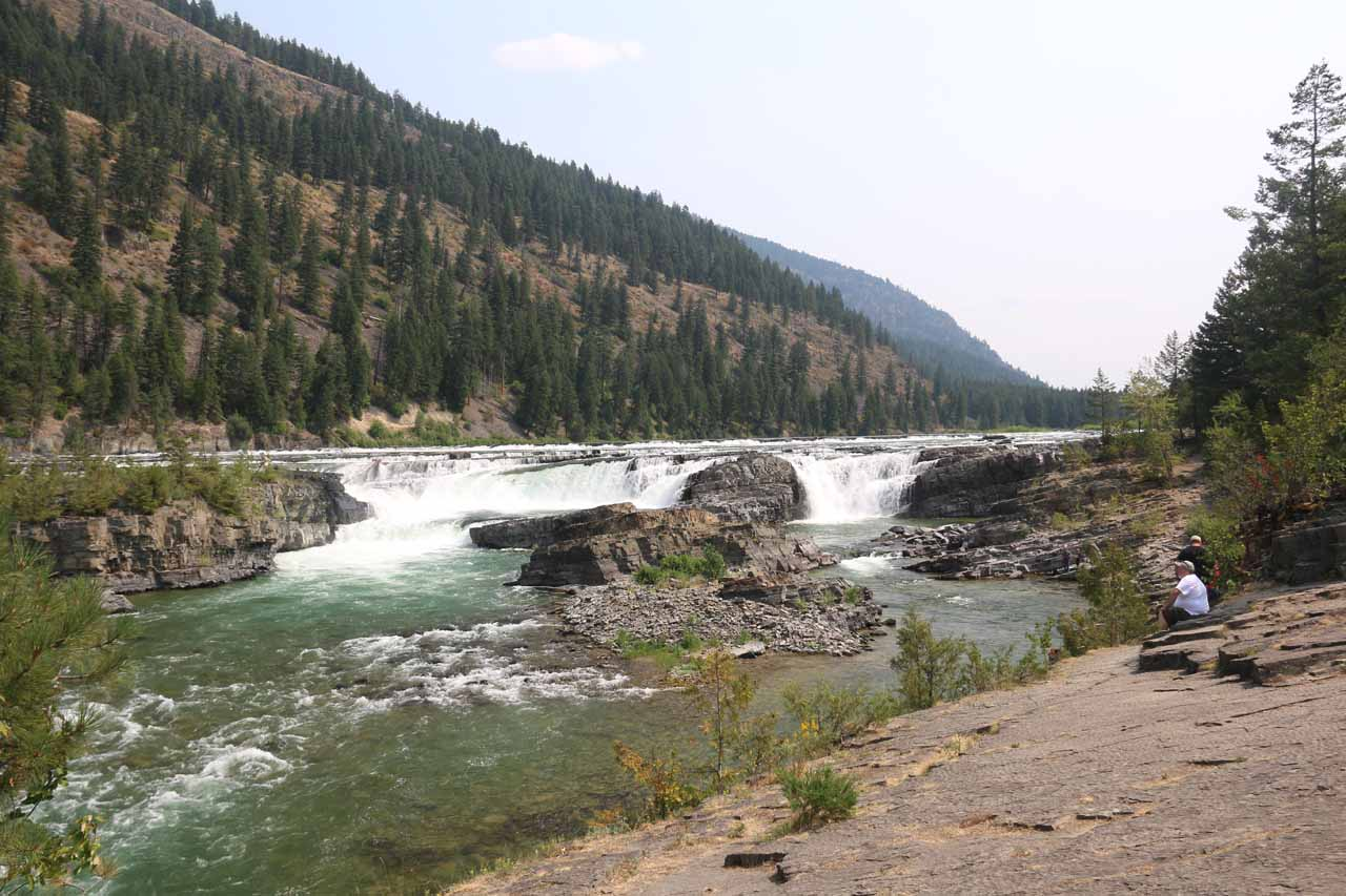 Looking upstream at the main drop of Kootenai Falls where there was one onlooker providing somewhat of a sense of scale