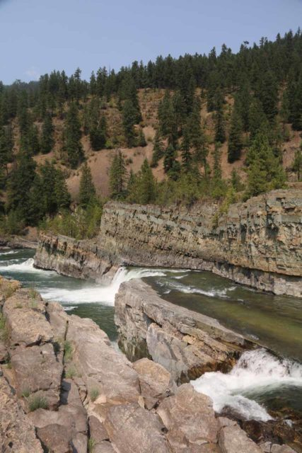 Kootenai_Falls_095_08052017 - Looking across another one of the 'steps' on the Kootenai River where you can see the differing layers from the tectonic folds and faults in the rocks