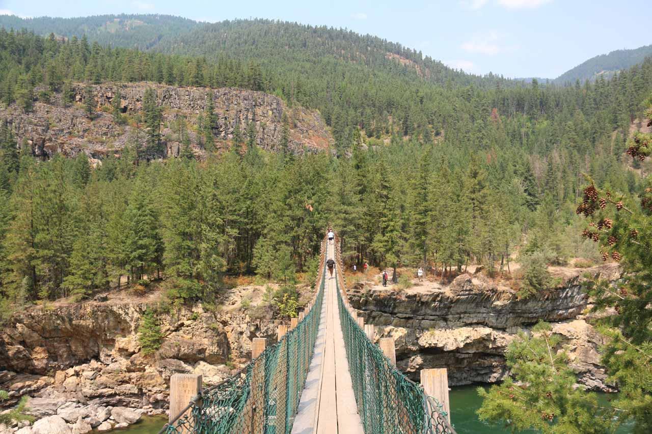 This was the popular Swinging Bridge spanning the Kootenai River well downstream of the Kootenai Falls