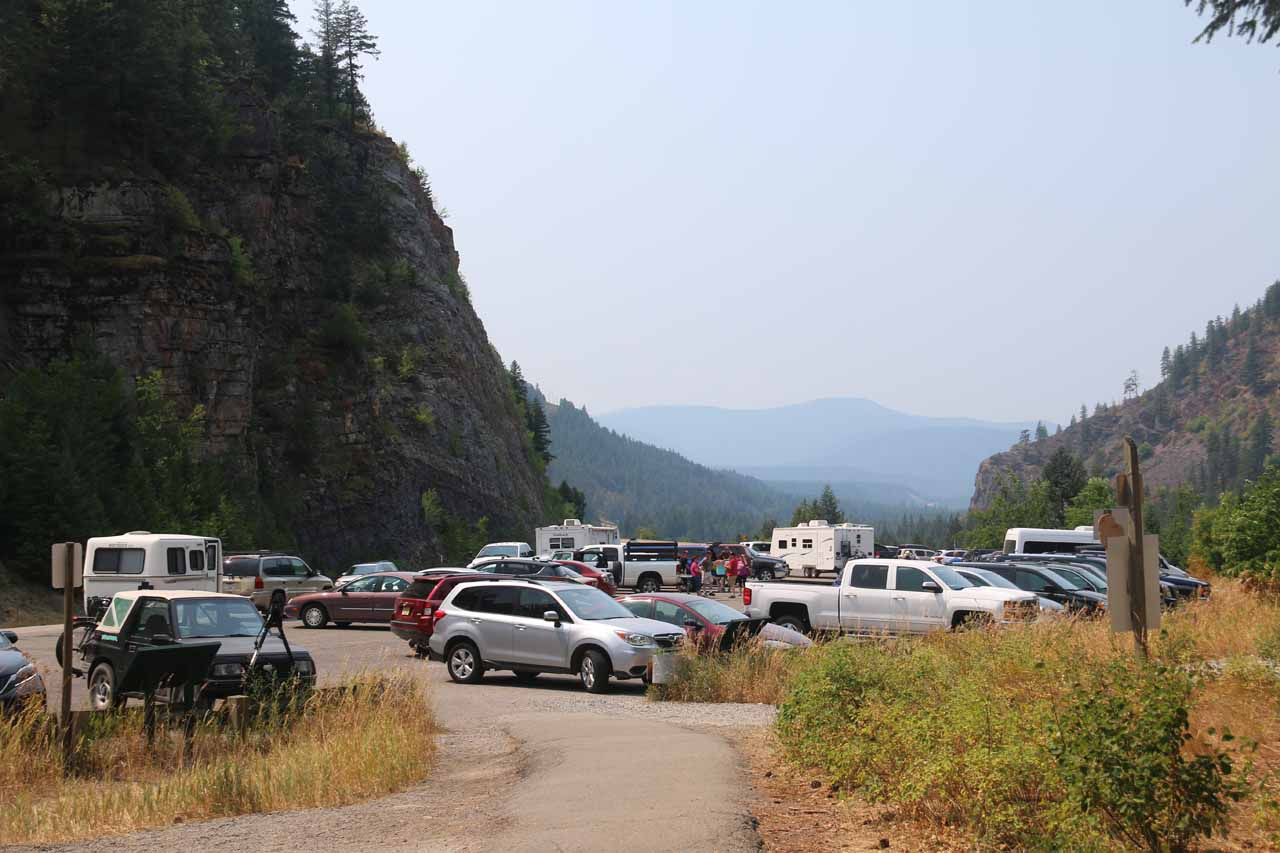 Making it back to the very busy parking lot for the Kootenai Falls